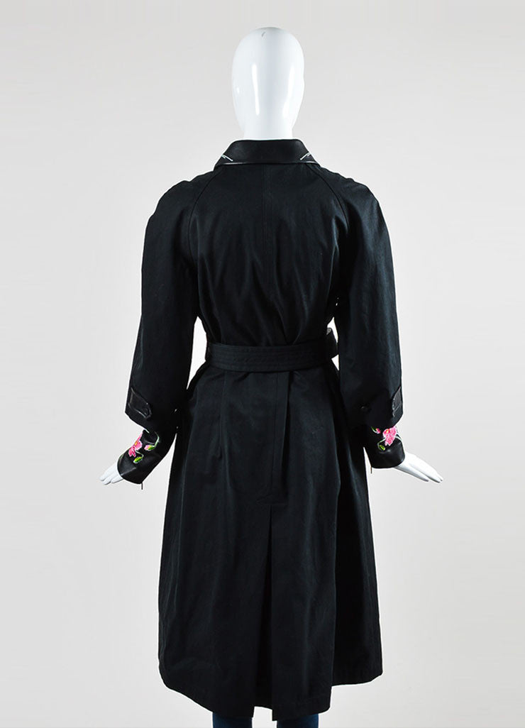 Christopher Kane Black Leather Trim Floral Embroider Trench Coat Backview