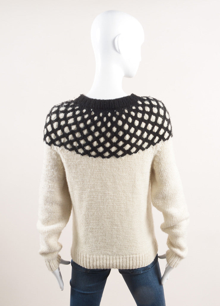 Derek Lam New With Tags Cream and Black Diamond Cashmere Pull On Sweater Backview
