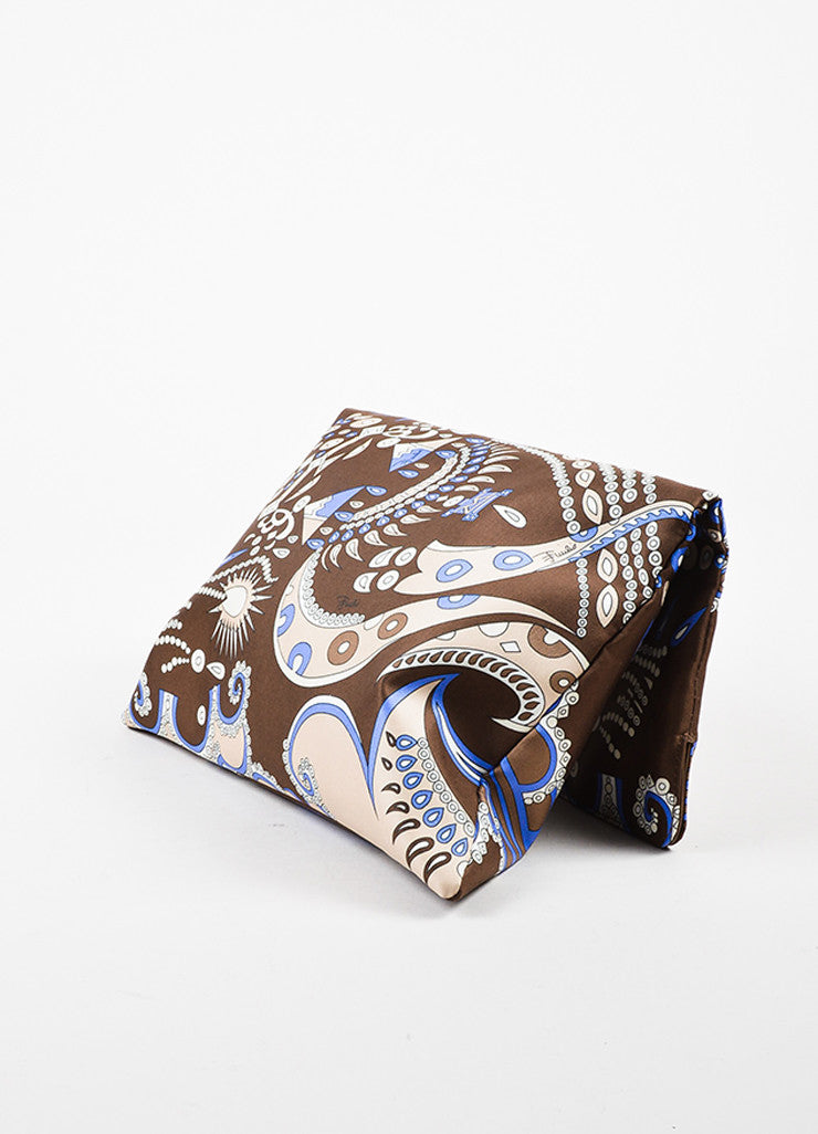 Emilio Pucci Brown Blue Abstract Printed Handbag Sideview