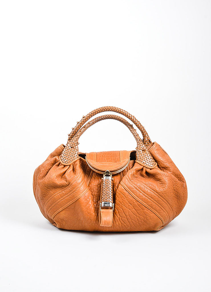"Tan and Gold Toned Fendi Leather Woven Trim ""Spy"" Bag Frontview"