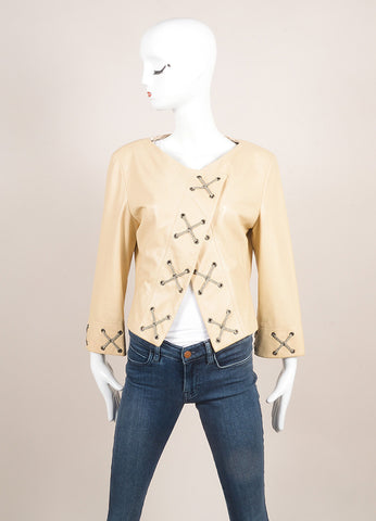 Giorgio Armani Cream and Gray 'X' Lace & Grommet Quarter Sleeve Leather Jacket Frontview