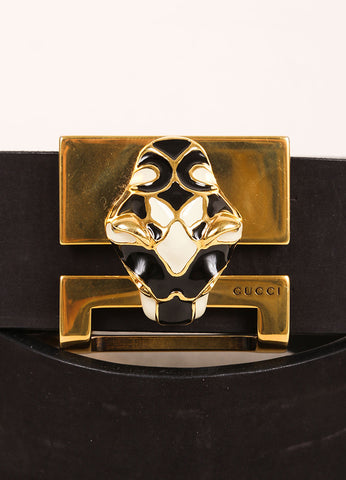 Gucci Black and Gold Toned Enamel Panther Head Leather Belt Detail