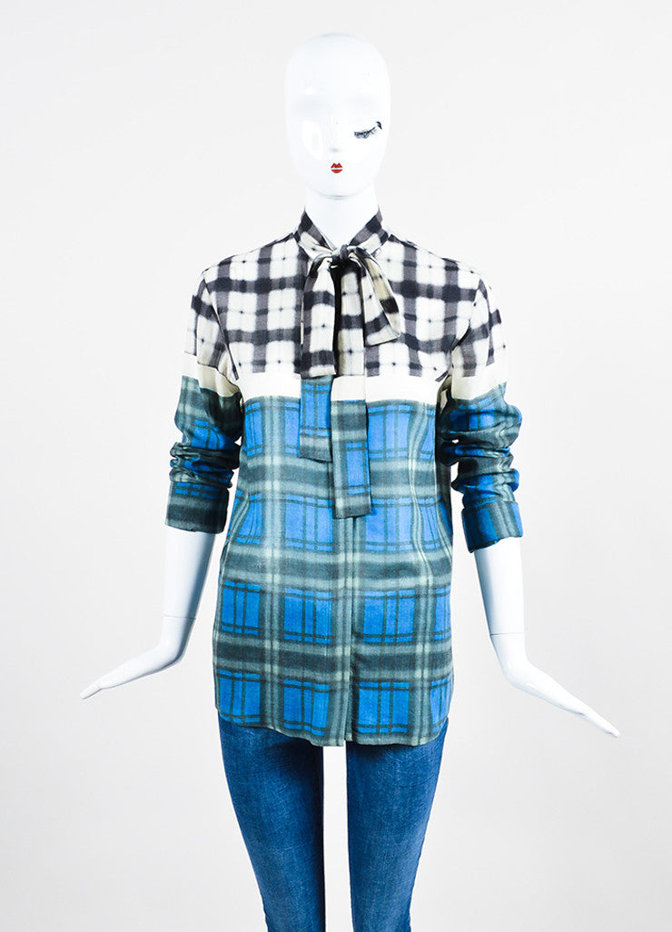 Grey, Blue and White Haider Ackermann Wool Blurred Plaid Buttoned Top Front
