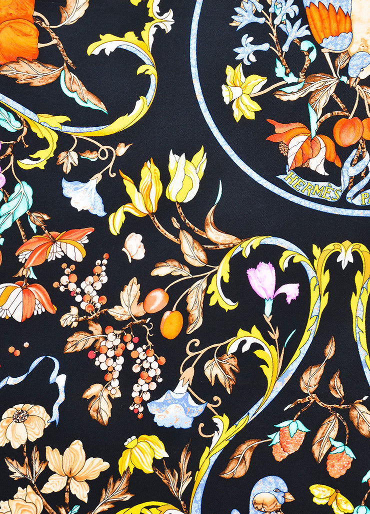 "Hermes Black and Yellow Silk ""Pierres d'Orient et d'occident"" Scarf Detail"