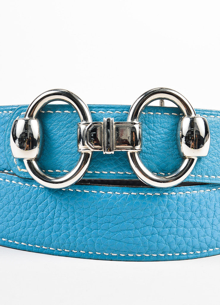 "Hermes ""Bleu Jean"" Blue and Black Clemence Chamonix Leather ""Horsebit H"" Belt Detail"