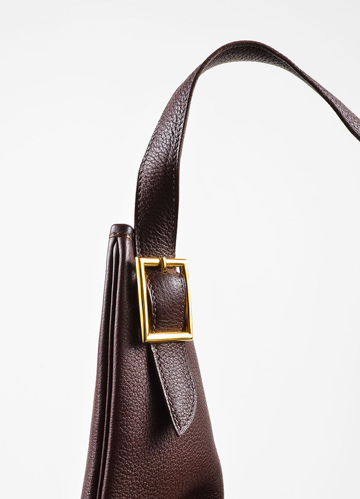 "Hermes Burgundy Clemence Leather ""Massai GM"" Dual Zip Square Shoulder Bag Detail 2"