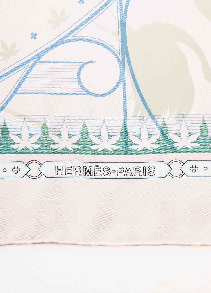 "Hermes Pink and Green Silk ""Chaque Recontre Est Unique"" Square Scarf  Brand"