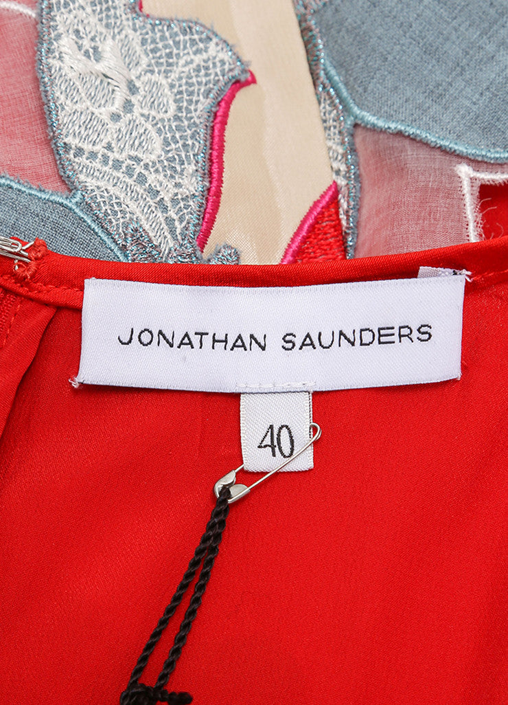 "Jonathan Saunders New With Tags Red and Blue Embroidered Flower ""Samantha"" Dress Brand"