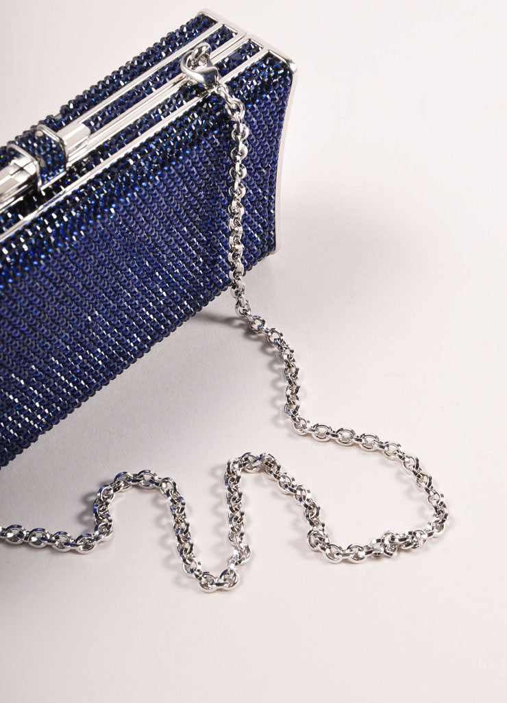 Judith Leiber Navy and Silver Rhinestone Small Rectangular Minaudiere Clutch Bag Detail 4