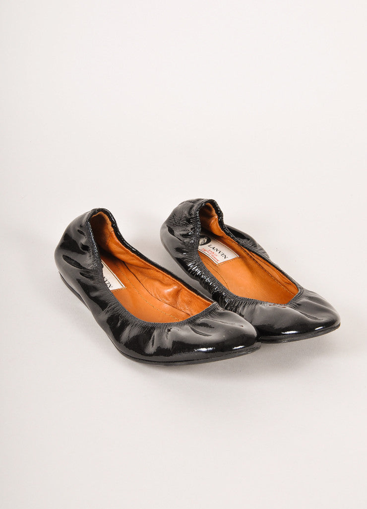 Lanvin Black Patent Leather Ballet Flats Frontview