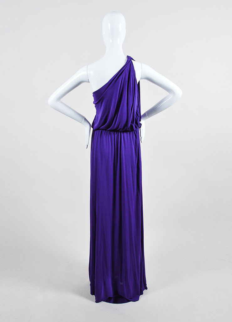Purple Lanvin Stretch Knit Twisted One Shoulder Maxi Dress Backview