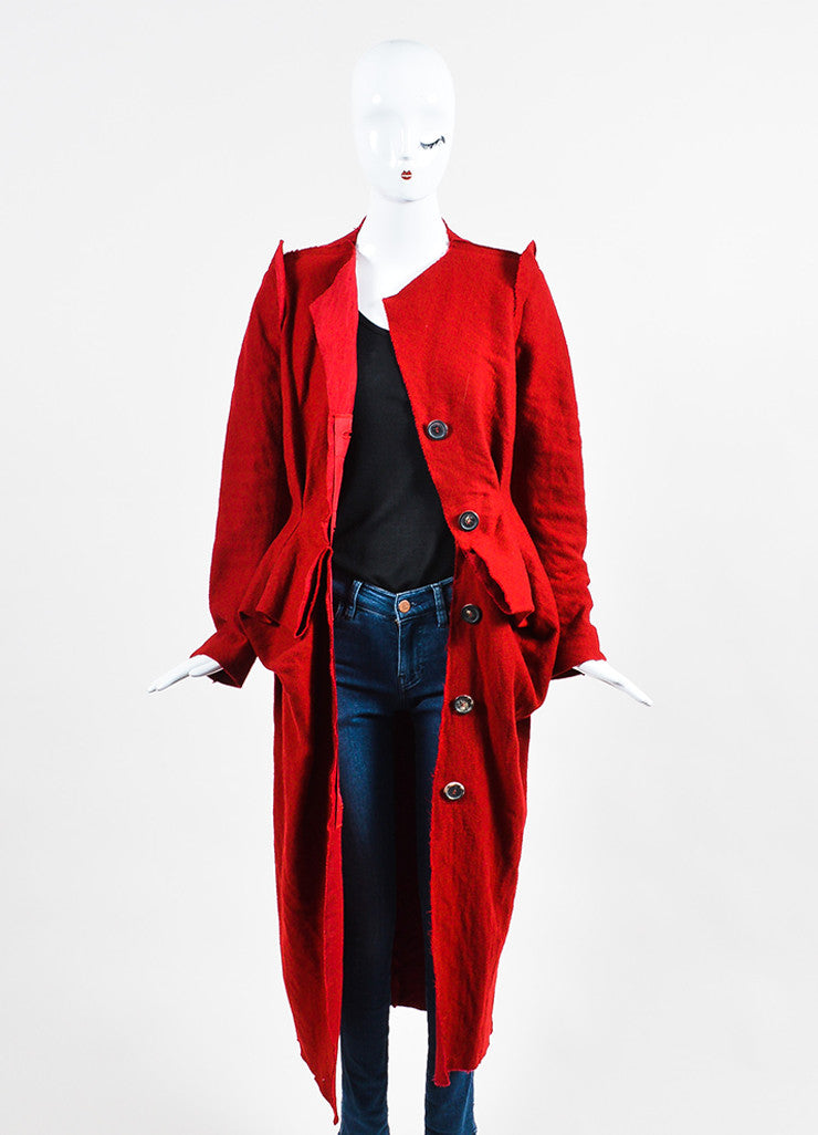 Red Lanvin Wool, Cotton, and Cashmere Pleated Raw Edge Long Duster Coat Frontview