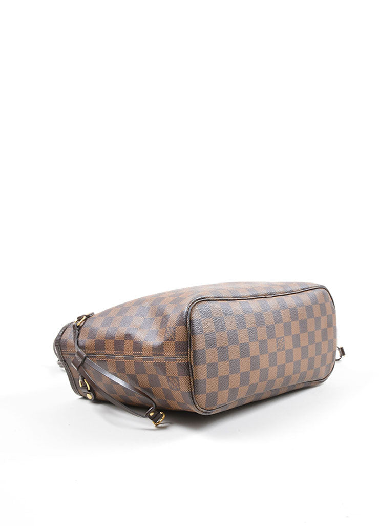 "Louis Vuitton Ebene Brown Damier Checkered ""Neverfull PM"" Tote Bag Bottom View"