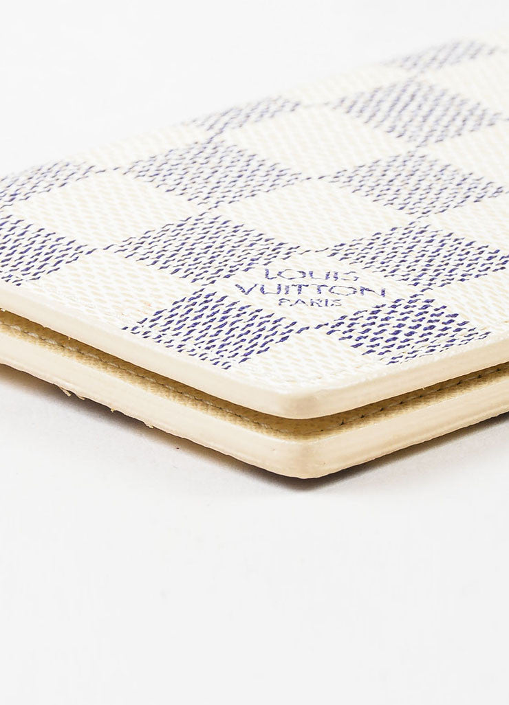Louis Vuitton White and Navy Coated Canvas Damier Azur Print Pocket Organizer Detail