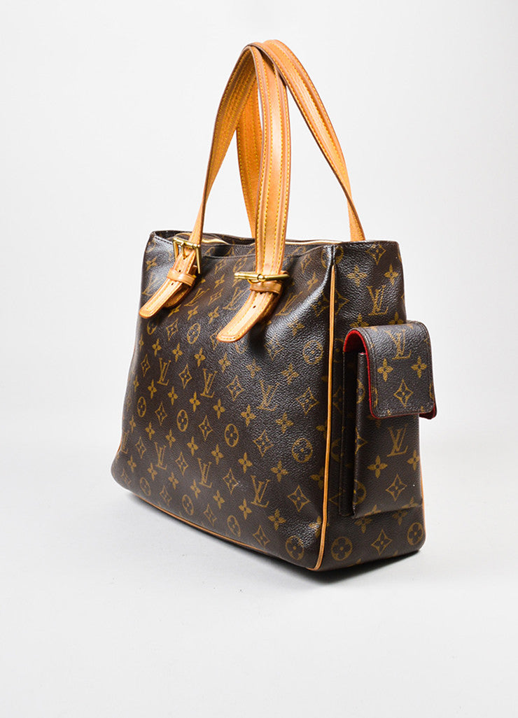 "Louis Vuitton Brown Monogram Canvas ""Multiplicite GM"" Satchel Tote Bag Sideview"