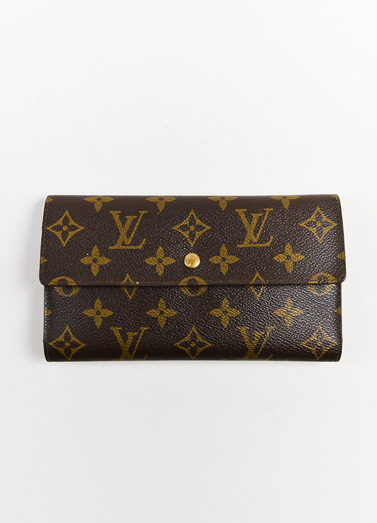 "Brown Louis Vuitton Canvas ""Porte-Tresor International"" Wallet Front"