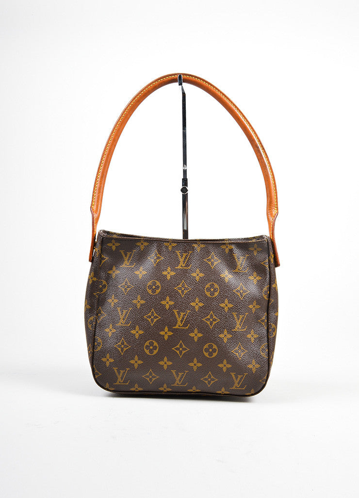 "Louis Vuitton Brown and Tan Coated Canvas Leather Monogram ""Looping MM"" Hobo Bag Frontview"