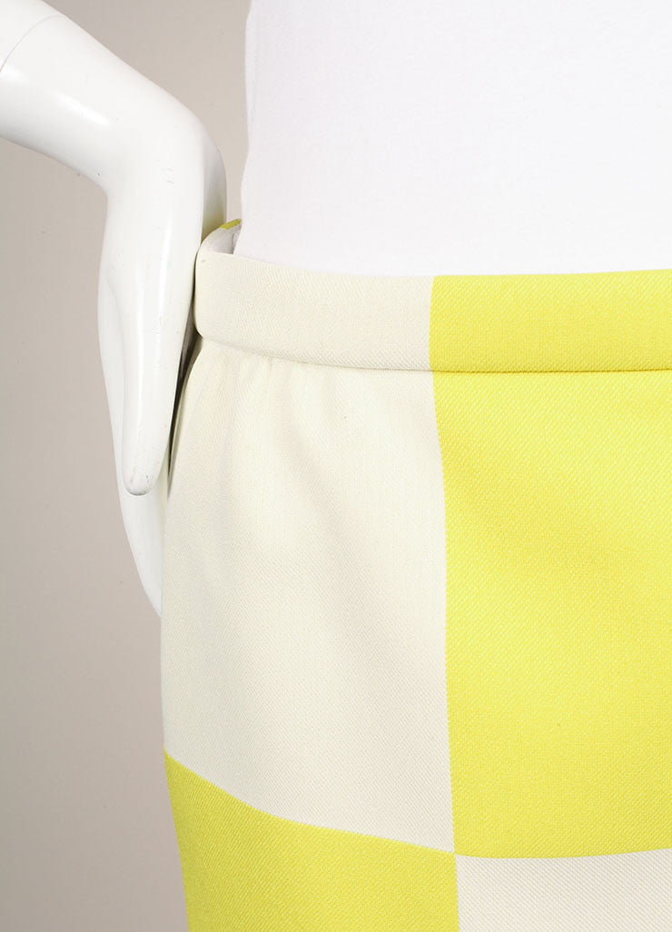Louis Vuitton Neon Yellow and White Checkerboard Pencil Skirt Detail