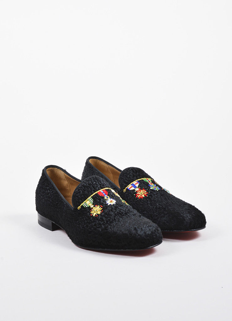 "Men's Christian Louboutin Black Pony Hair ""Dictateur Flat"" Shoes Frontview"