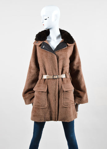 Tan and Brown Malo Mohair, Wool, and Rabbit Fur Collar Belted Coat Frontview