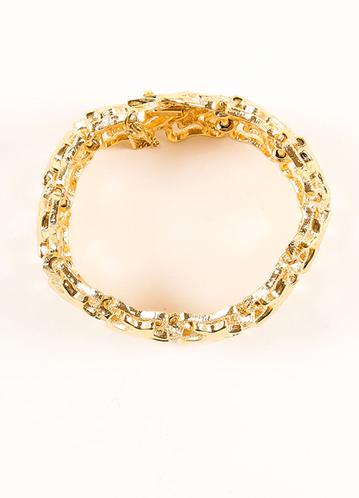 Monet Gold Toned Abstract Textured Chain Link Bracelet Topview
