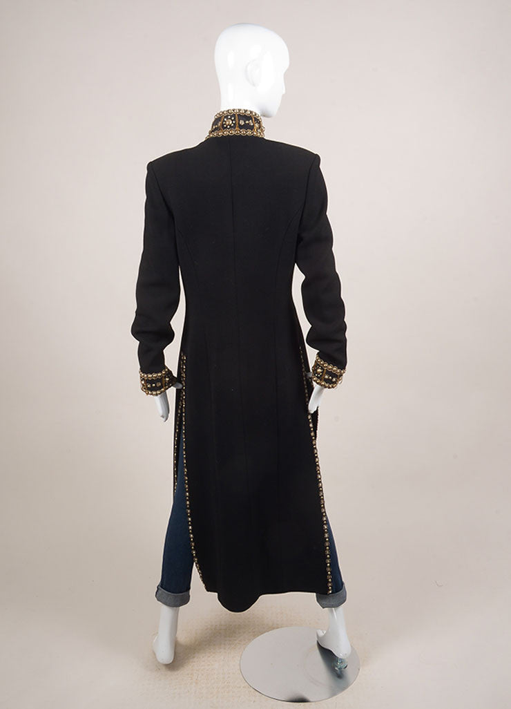 Naeem Khan Black Wool and Silk Blend Beaded Embellished Full Length Coat Backview