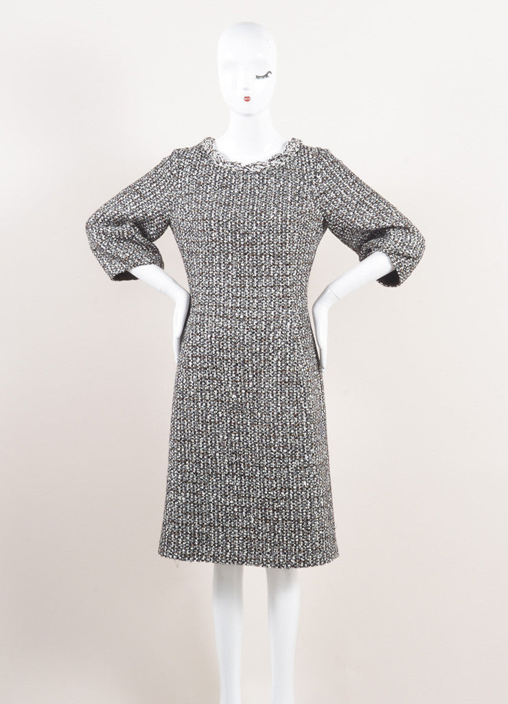 New With Tags Brown and Cream Tweed Pouf Quarter Sleeve Dress