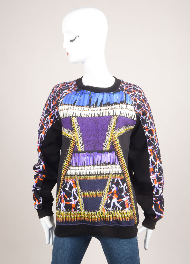 "Peter Pilotto New With Tags Multicolor Abstract Print ""Top Ruc"" Fleece Pullover Frontview"