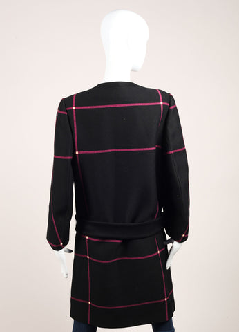 Prada Black and Raspberry Plaid Belted Collarless Long Wool Coat Backview