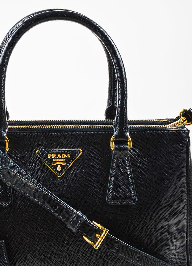 "Prada Black Saffiano Leather ""Small Double Zip Tote"" Bag Detail 2"