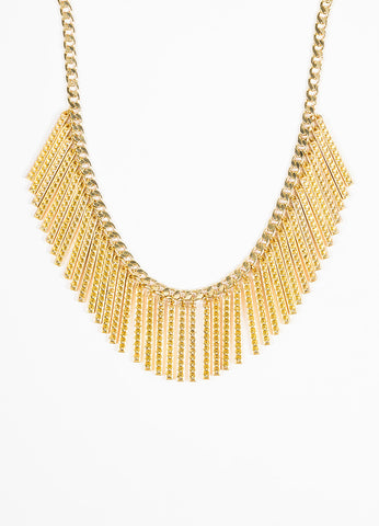 Rebecca Minkoff Gold Toned Chain Link Studded Bar Fringe Bib Necklace Front