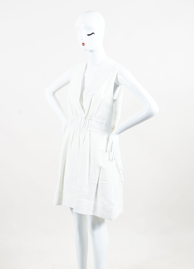 Sea New York White Cotton Quilted V-Neck Pleated Sleeveless Dress  Sideview