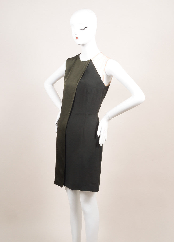 Stella McCartney New With Tags Green Draped Mesh Shoulder Sleeveless Dress Sideview