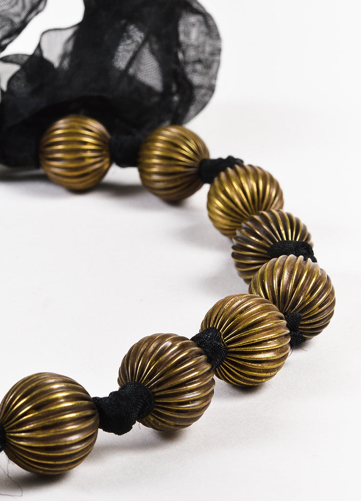 Susanna Galanis Vintage Brass Chiffon Tie Black Agate Necklace Set detail