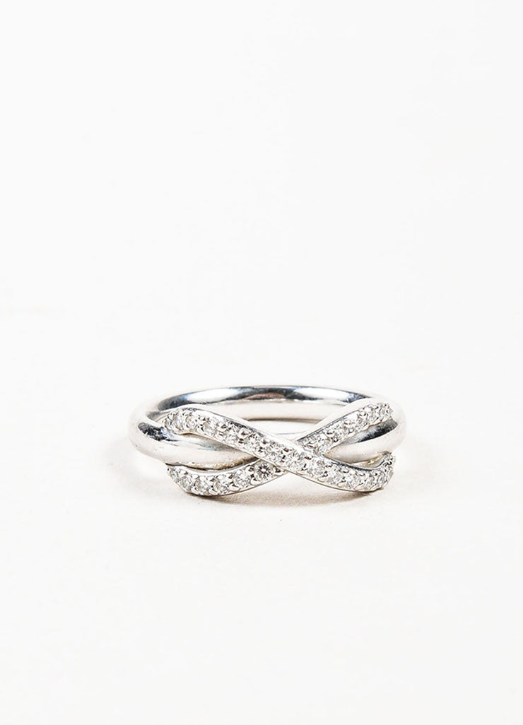 "Tiffany & Co. 18K White Gold Pave Diamond ""Infinity"" Ring Frontview"