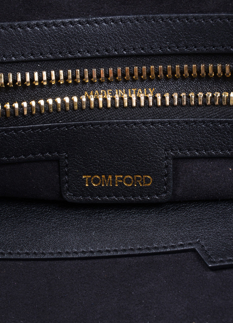 Tom Ford Black Leather and Gold Toned Hardware Bowler Bag Brand