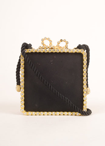 Kenneth Jay Lane Black and Gold Toned Rhinestone Bow Clasp Square Clutch Bag Frontview