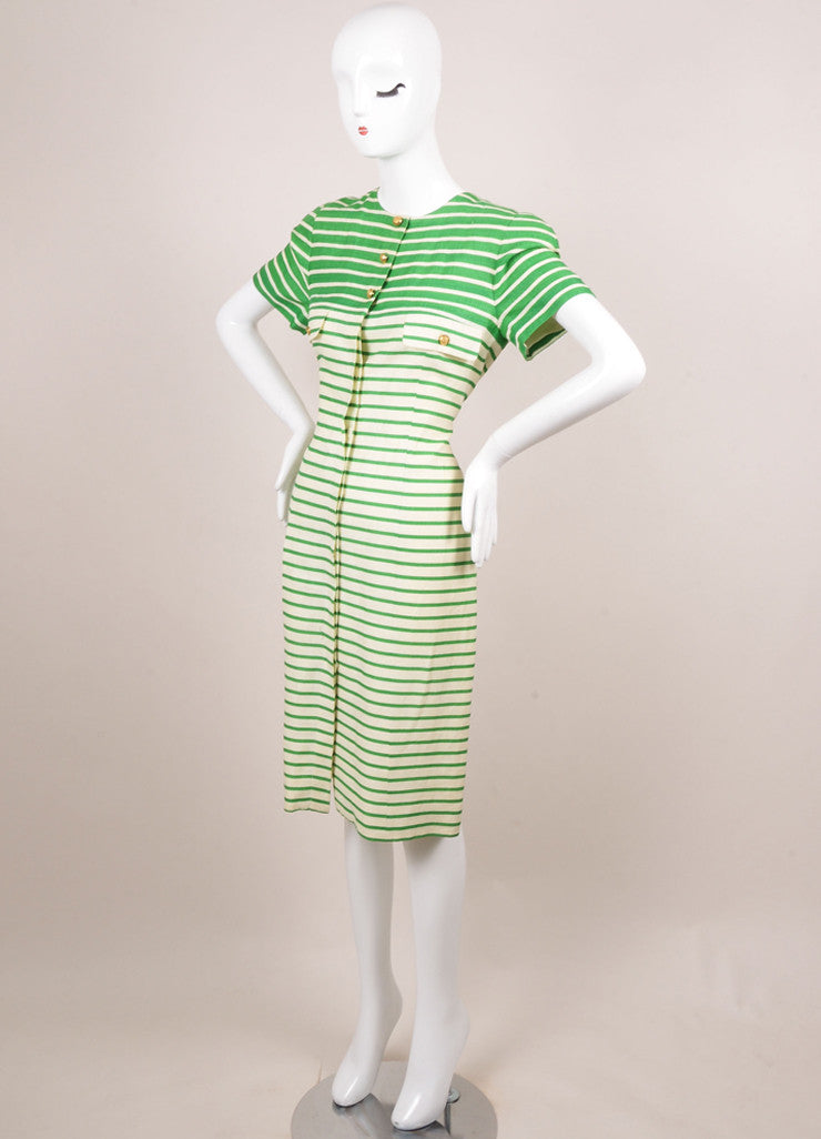 Nipon White and Green Striped Linen Button Up Short Sleeve Dress Sideview
