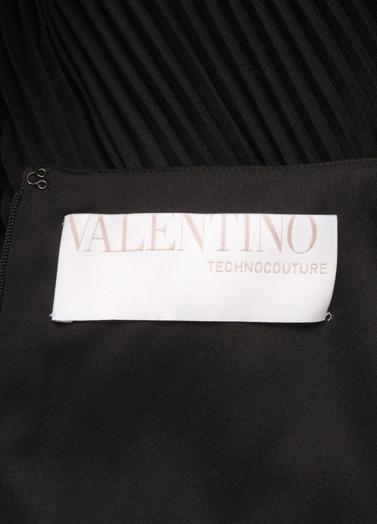 Valentino Techno Couture Black Wool Sleeveless Floral Lace Pleated Dress Brand