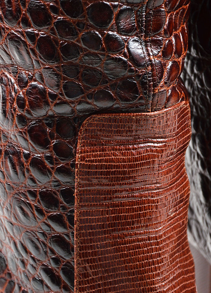 Brown Viktor & Rolf  Lizard and Embossed Leather Over The Knee Boots Detail