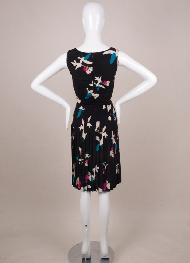 Chanel Black, White, and Teal Floral Print Silk Quilted Dress Backview