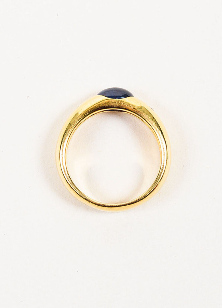 18K Yellow Gold, Oval Sapphire, and Diamond Ring Topview