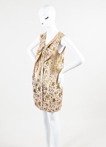 3.1 Philip Lim Pink and Gold Lurex Silk Floral Jacquard Sleeveless Dress Sideview