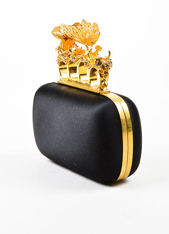 Alexander McQueen Black Satin Gold Toned Crystal Butterfly Knuckle Clutch Bag Sideview
