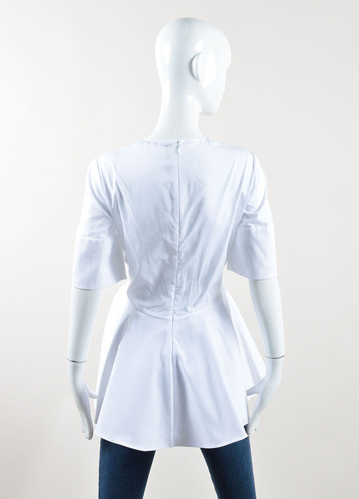 Alexander McQueen White Textured Peplum Short Sleeve Top Backview
