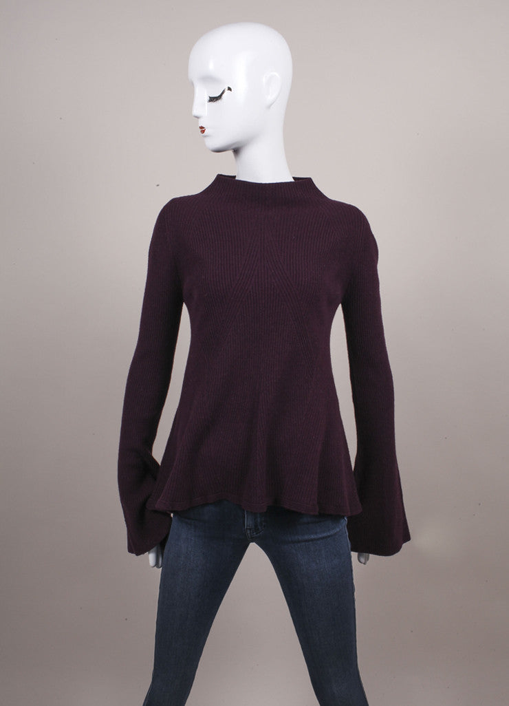 Alexander McQueen New With Tags Purple Wool and Cashmere Mock Neck A-Line Sweater Frontview
