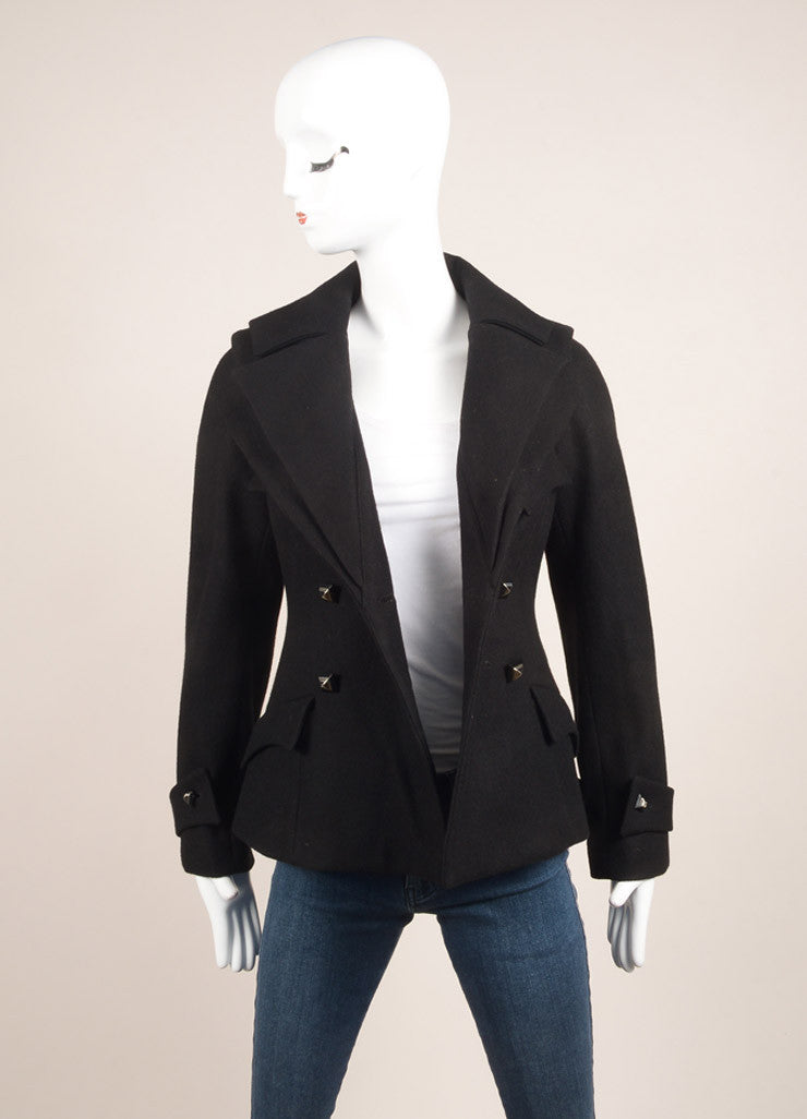 Anne Fontaine Black Layered Collar Jacket Frontview