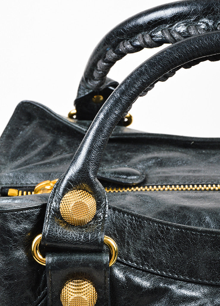 "Balenciaga Black and Gold Toned Leather ""Giant Brief"" Tote Bag Detail 2"