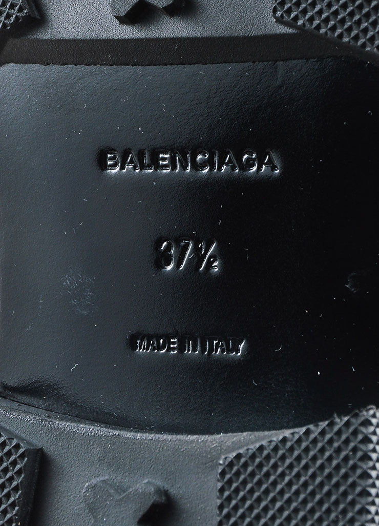"Black Balenciaga Leather Staple ""Chelsea"" Combat Boots Brand"