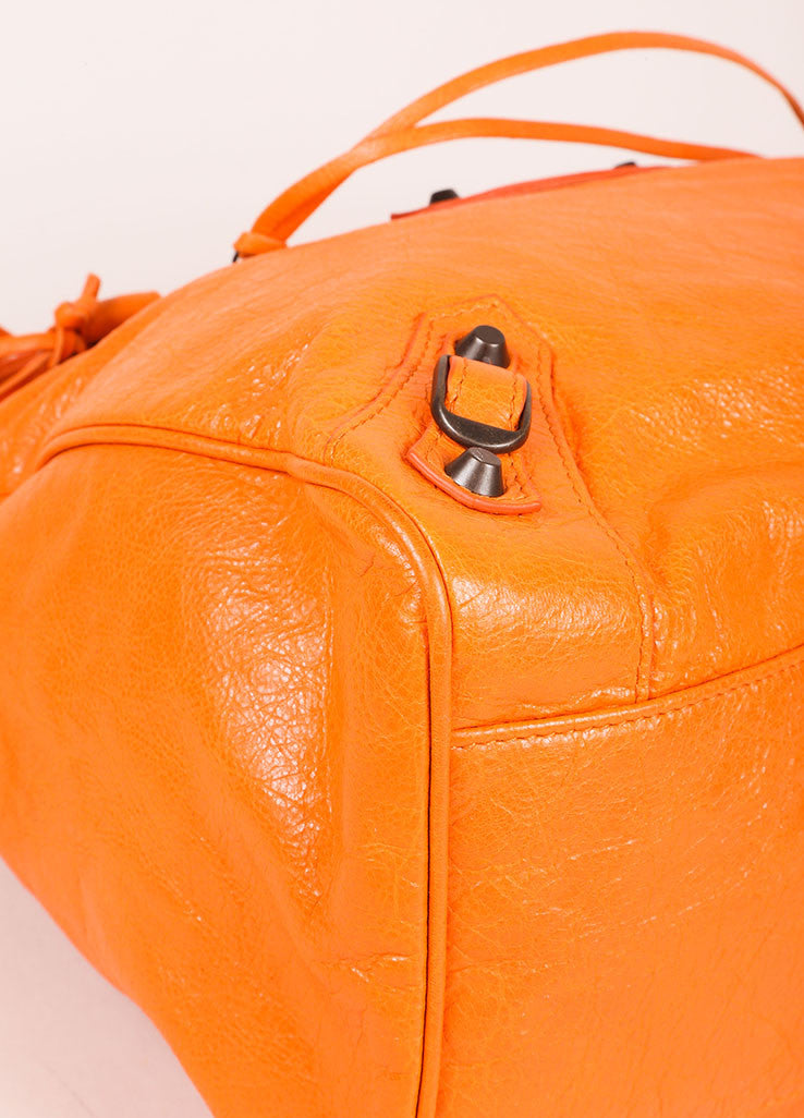 "Balenciaga New With Tags Orange Stud Accent Crossbody ""Velo"" Satchel Bag Detail"